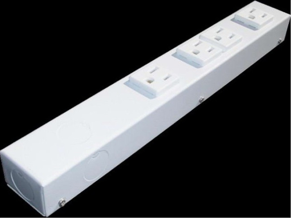 "12"" 4 Outlet Hardwired Power Strip H104NVW"
